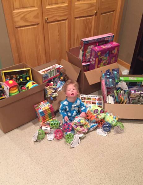 Chase with all the Christmas donations.